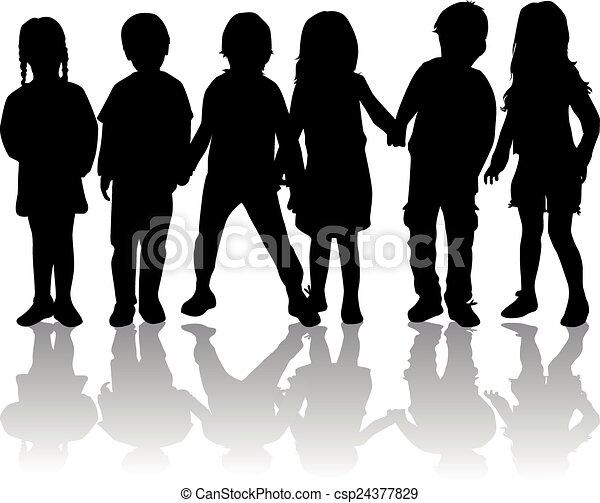 children silhouette - csp24377829