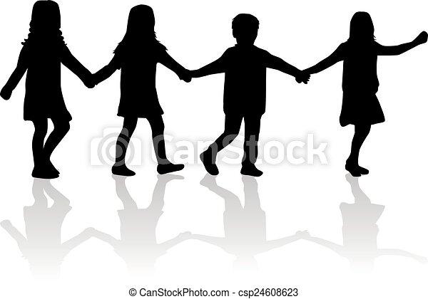 children silhouette - csp24608623