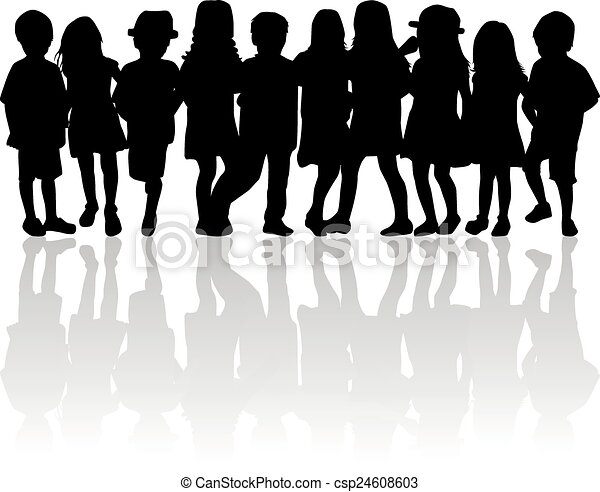 children silhouette - csp24608603