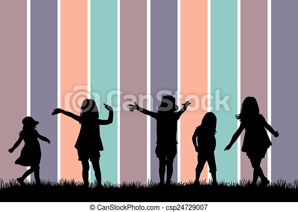 children silhouette - csp24729007