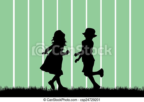children silhouette - csp24729201