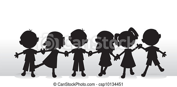 children silhouettes background - csp10134451