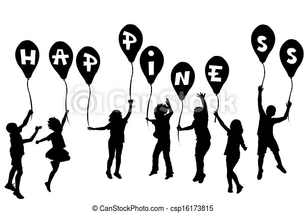 Children silhouettes holding balloons with Happiness - csp16173815