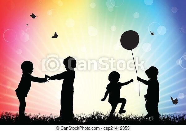 Children silhouettes in the garden - csp21412353