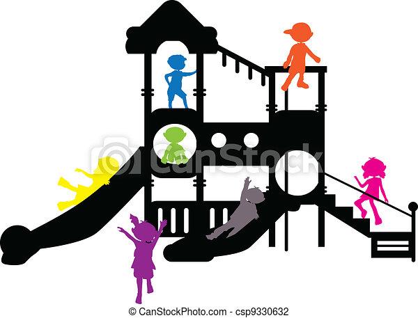 children silhouettes playground - csp9330632