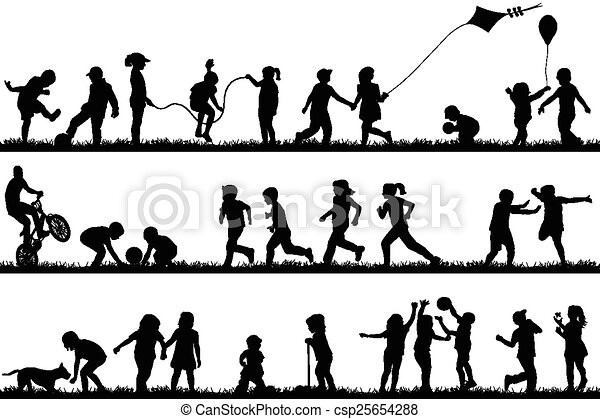 Children silhouettes playing outdoor - csp25654288