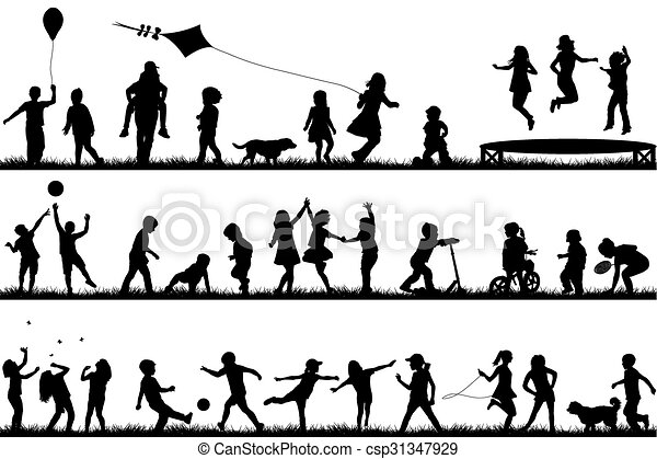Children silhouettes playing outdoor - csp31347929