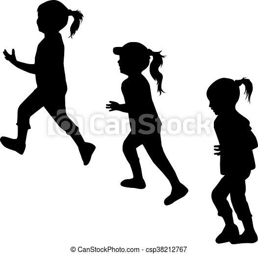 Children silhouettes running. - csp38212767