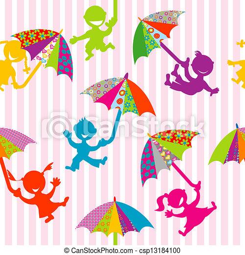 Children silhouettes with doodle umbrellas - csp13184100