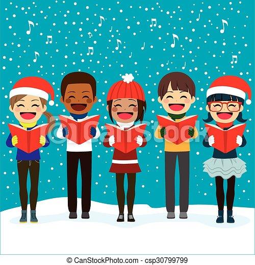 Children Singing Carols At Christmas - csp30799799