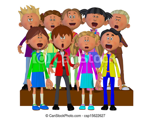 children singing children chorus rh canstockphoto com Student Chorus Clip Art choir graphics clip art