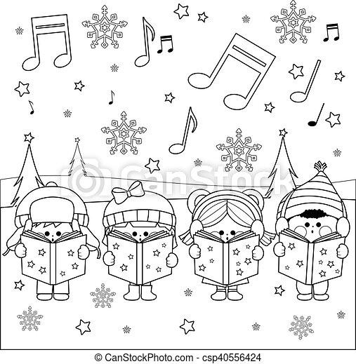 Children singing Christmas carols - csp40556424
