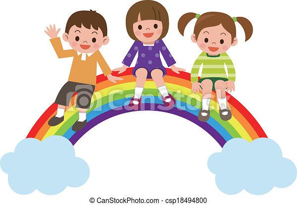 Children sit in rainbow  - csp18494800
