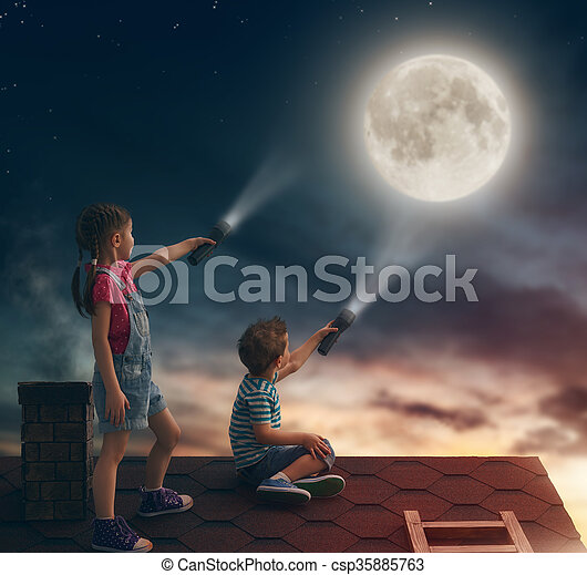 children sit on the roof - csp35885763