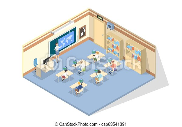 Children sitting in the school on the lesson - csp63541391