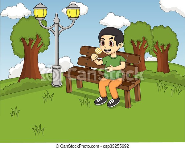 Children Sitting On The Bench At The Park Cartoon