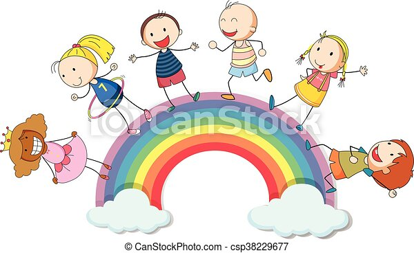 Children standing on the rainbow - csp38229677