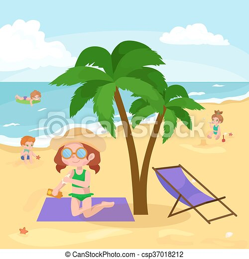 Children Summer Vacation Kids Playing Sand Around Water On Beach Cute Little Girl In A Bathing Suit And Funny Boy Swiming The Sea