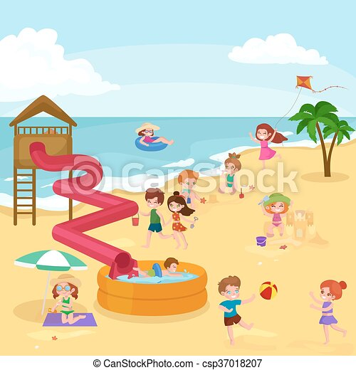 Children Summer Vacation Kids Playing Sand Around Water On Beach Vector