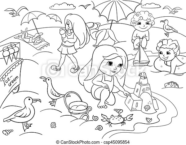 Children Swimming At The Beach And Play With Toys Coloring
