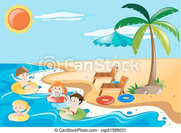 Children swimming in the sea illustration.