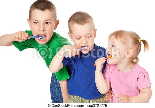 children to brush his teeth - csp3721775