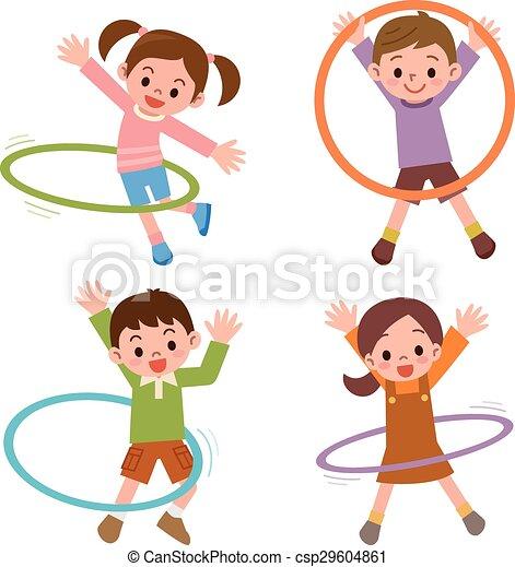 children to the hula hoop vector illustration clip art vector rh canstockphoto com hula hoop pictures clip art hula hoop clipart black and white