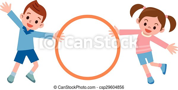 children to the hula hoop vector illustration rh canstockphoto com hula hoop clipart free hula hooping clipart