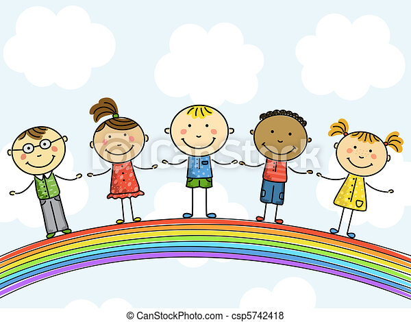 funny kids on a rainbow - Free Children Images