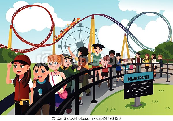Children waiting in line for a roller coaster ride - csp24796436