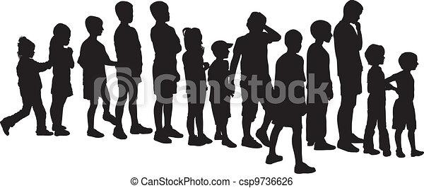 Children waiting in the crowd - csp9736626