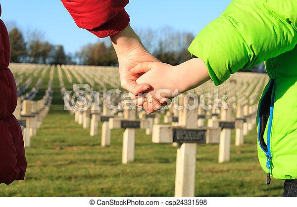 children walk hand in hand for peace world war 1 - csp24331598