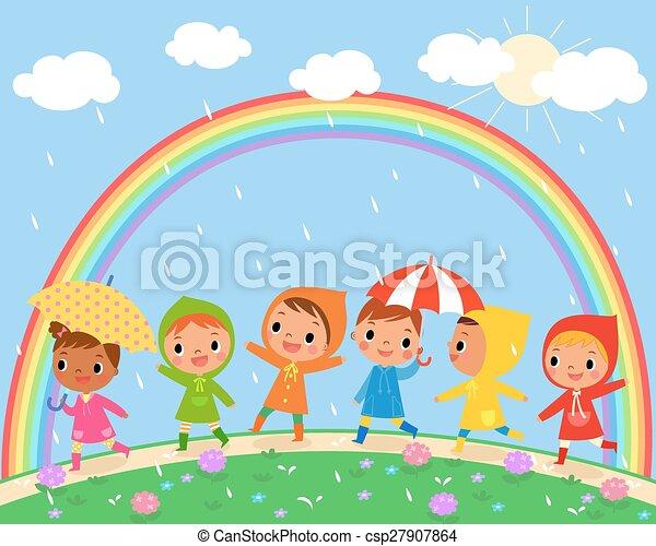 Children Walk On A Beautiful Rainy Day Illustration Of Children