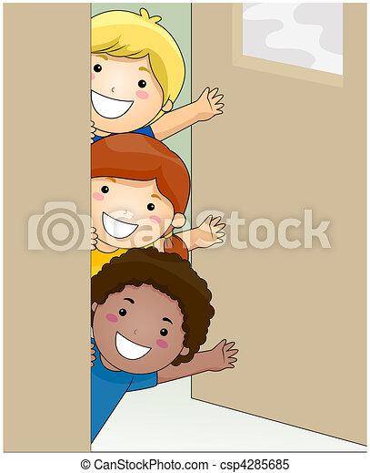 Children Waving - csp4285685
