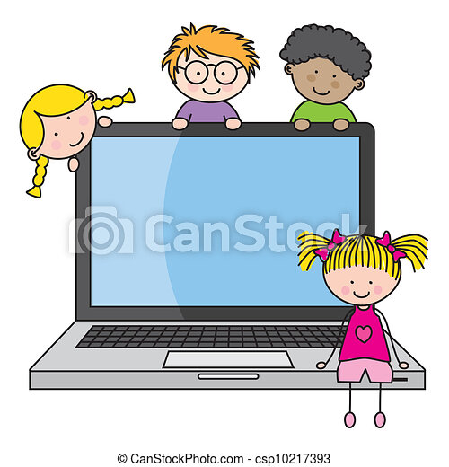 Children With A Computer Funny Vector Isolated On White Background
