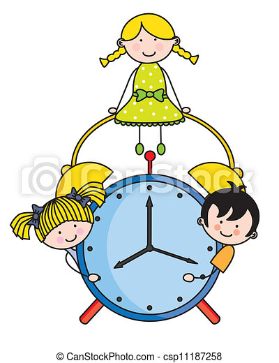 children with an alarm clock clipart vector search illustration rh canstockphoto com funny clock face clip art Silly Clip Art Clocks