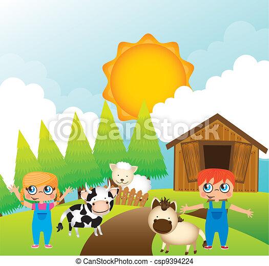 children with animals farm - csp9394224