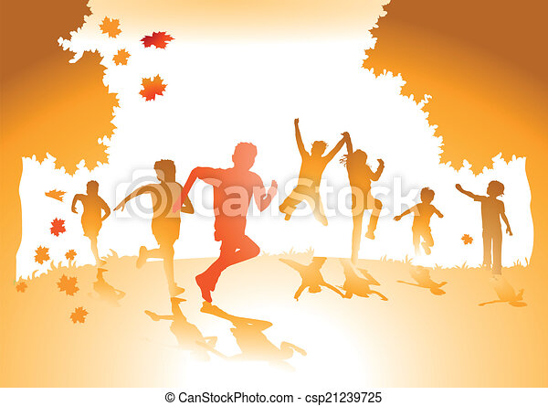 Children with autumn leaves  - csp21239725