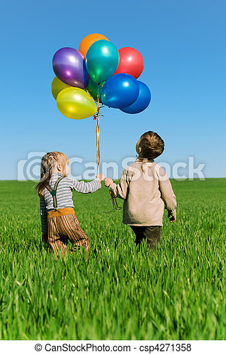 Children with balloons - csp4271358
