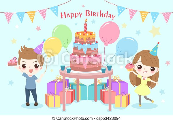 Children with birthday party on the blue background eps vectors