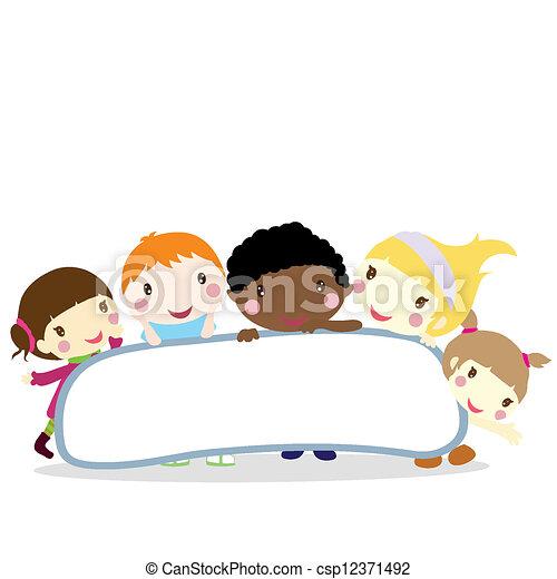 children with board background - csp12371492