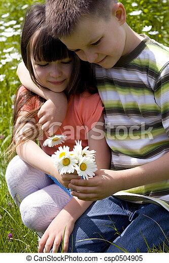 children with flower - csp0504905