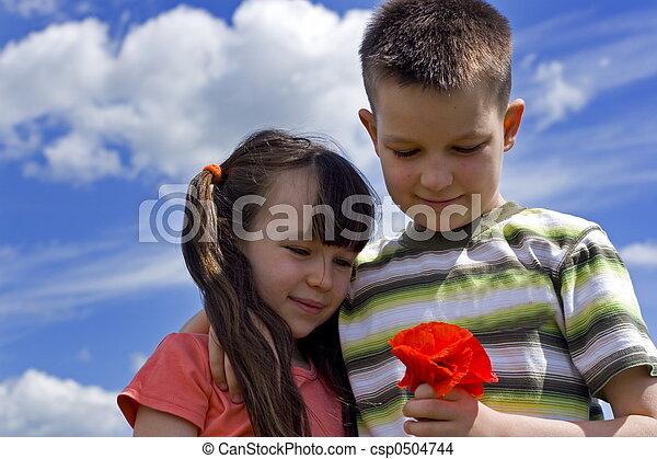 children with flower - csp0504744