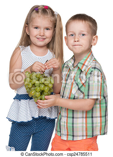 Children with grapes - csp24785511