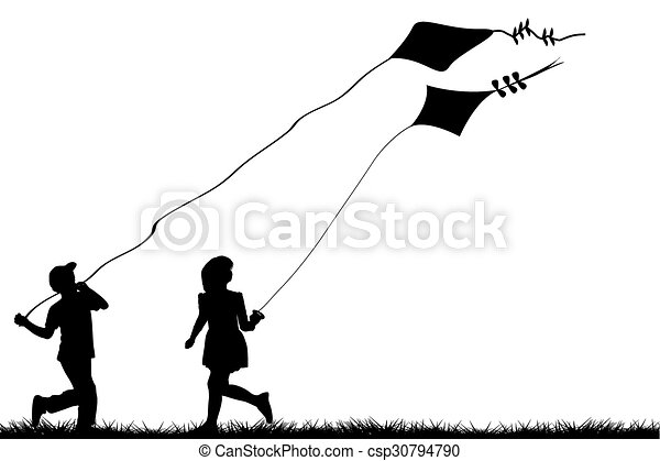 Children with kites - csp30794790