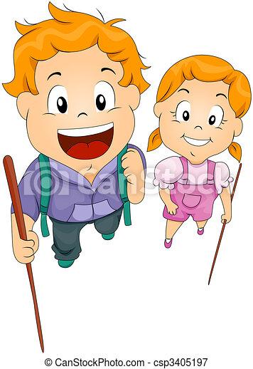 Children with Sticks - csp3405197