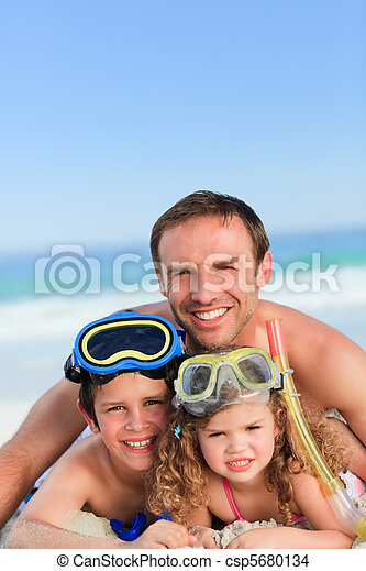 Children with their father - csp5680134