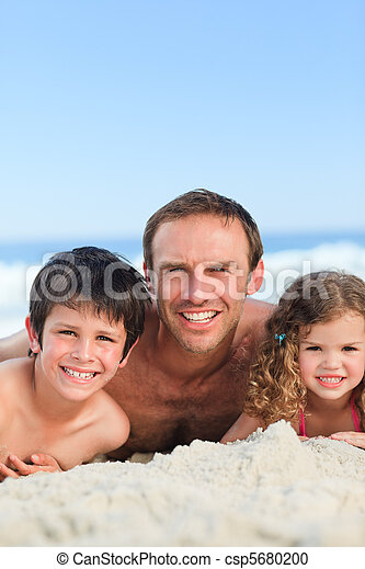 Children with their father - csp5680200