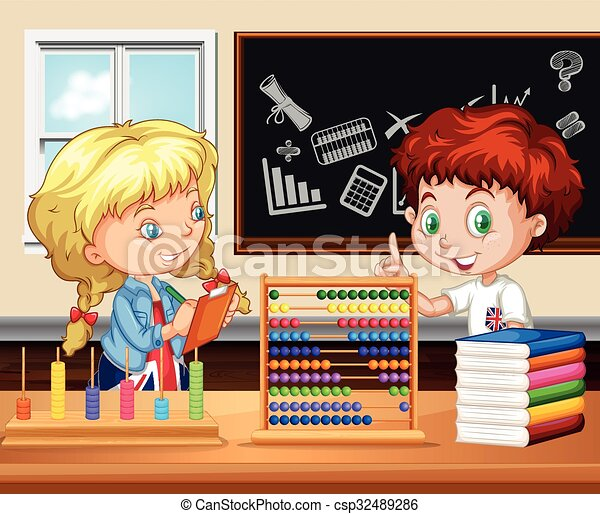 Children working in the classroom - csp32489286