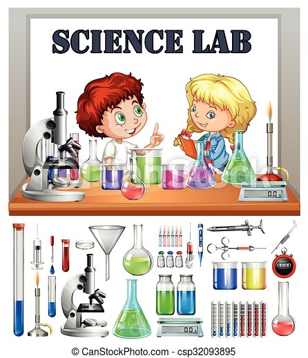 children working in the science lab illustration rh canstockphoto com science lab clipart black and white science lab tools clipart